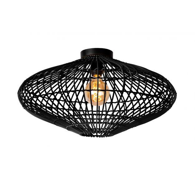 Lucide Magali - plafondverlichting - Ø 56 x 31 cm - rotan - zwart