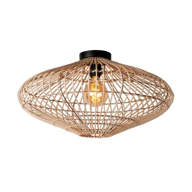 Lucide Magali - plafondverlichting - Ø 56 x 31 cm - rotan - lichtbruin