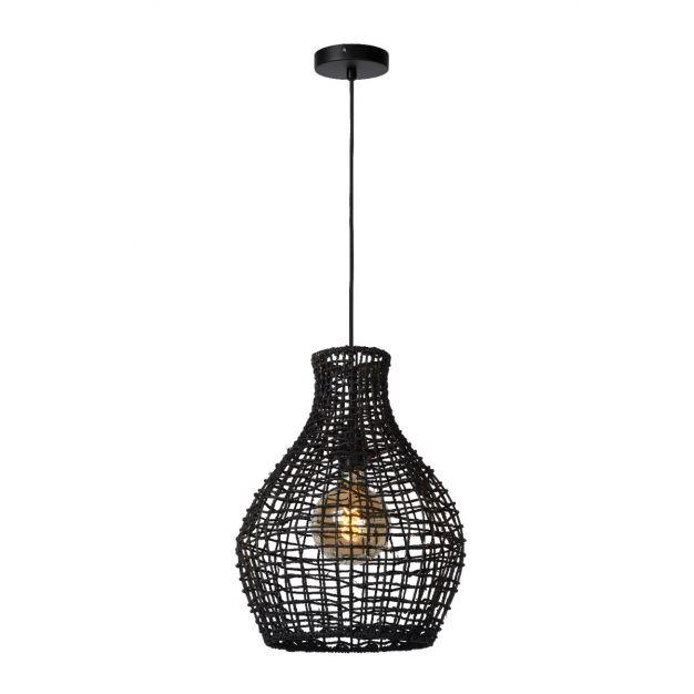 Lucide Alban - hanglamp - Ø 35 x 175 cm - rotan - zwart
