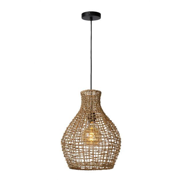 Lucide Alban - hanglamp - Ø 35 x 175 cm - rotan - lichtbruin