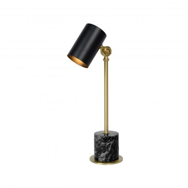 Lucide Brandon - bureaulamp - 18 x 12 x 48 cm - zwart en mat goud