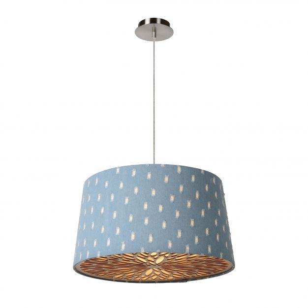 Lucide Denim - hanglamp - Ø 46 x 155 cm - pastel blauw en chroom
