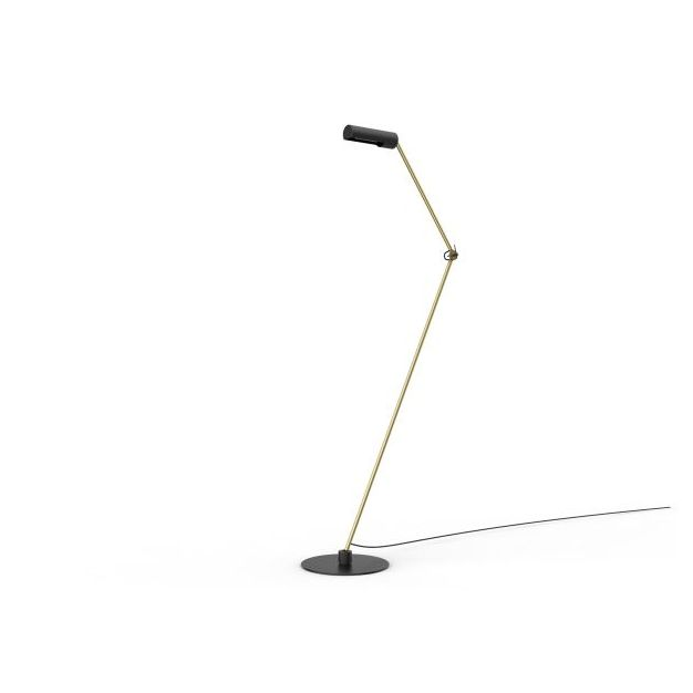 Lucide Slender - vloerlamp - 140 x 32 x 180 cm -zwart en goud