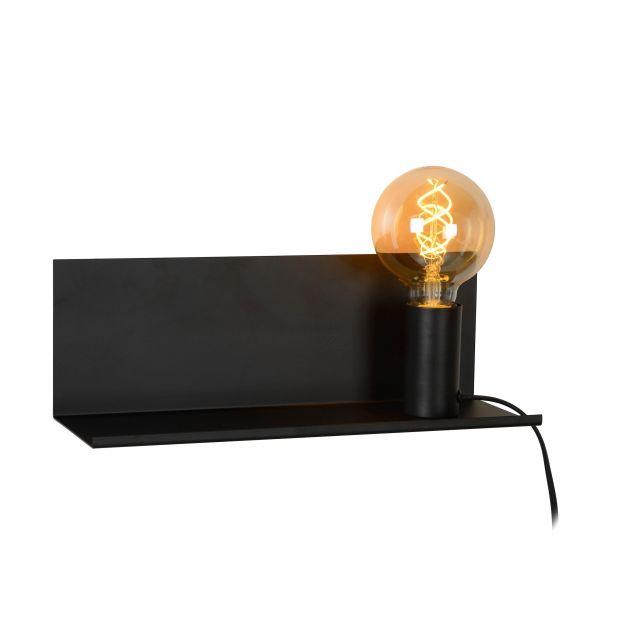 Lucide Sebo - wandlamp met schakelaar - 37 x 13 x 13 cm - zwart