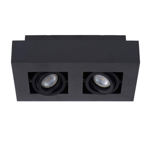Lucide Xirax - opbouwspot 2L - 14 x 25 x 8 cm - 2 x 5W dimbare LED incl. - zwart