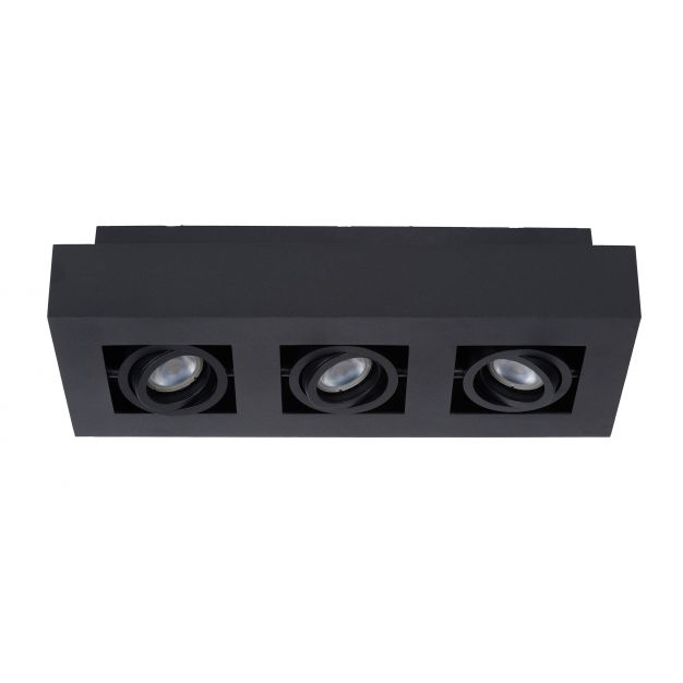 Lucide Xirax - opbouwspot 3L - 14 x 36 x 8 cm - 3 x 5W dimbare LED incl. - zwart