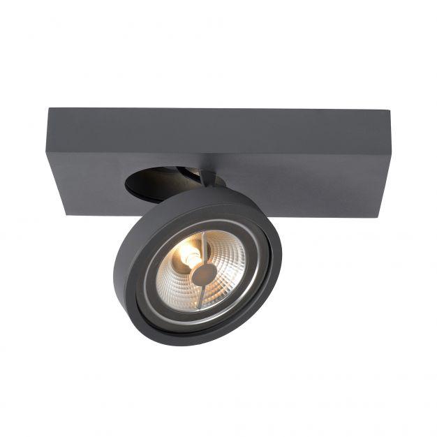 Lucide Nenad AR111 - opbouwspot 1L - 12 x 15 x 8 cm - 10W dimbare LED incl. - grijs