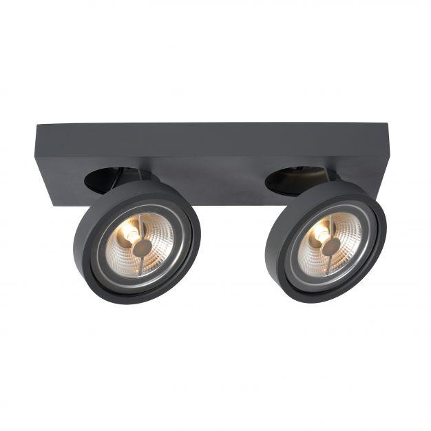 Lucide Nenad AR111 - opbouwspot 2L - 12 x 33 x 8 cm - 2 x 10W dimbare LED incl. - grijs