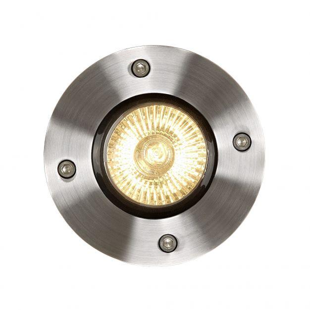 Lucide Biltin - grondspot voor buiten - Ø 108 mm, Ø 104 mm inbouwmaat - IP67 - mat chroom