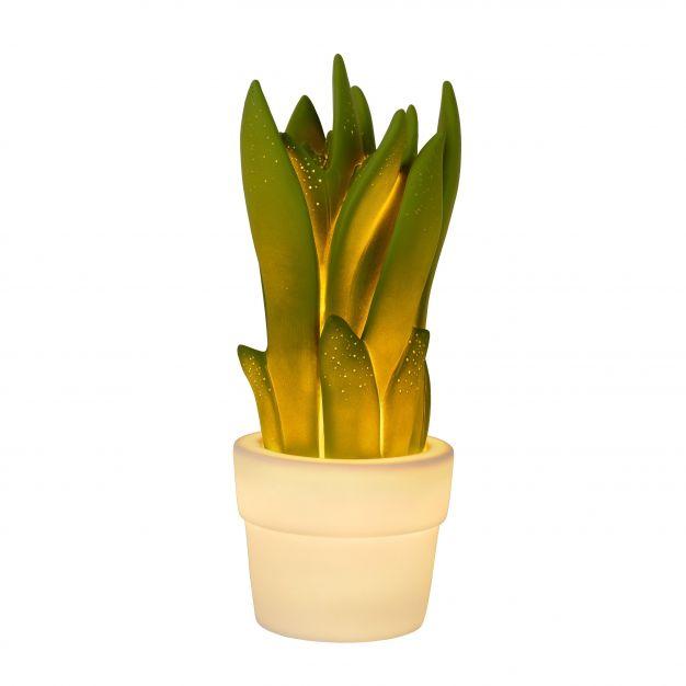 Lucide Sansevieria - tafellamp - 31 cm - groen en wit