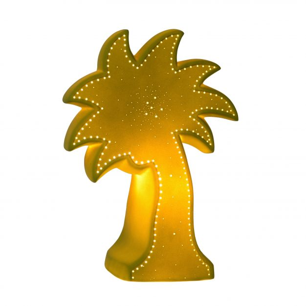 Lucide Palm - tafellamp - 26 cm - groen en wit