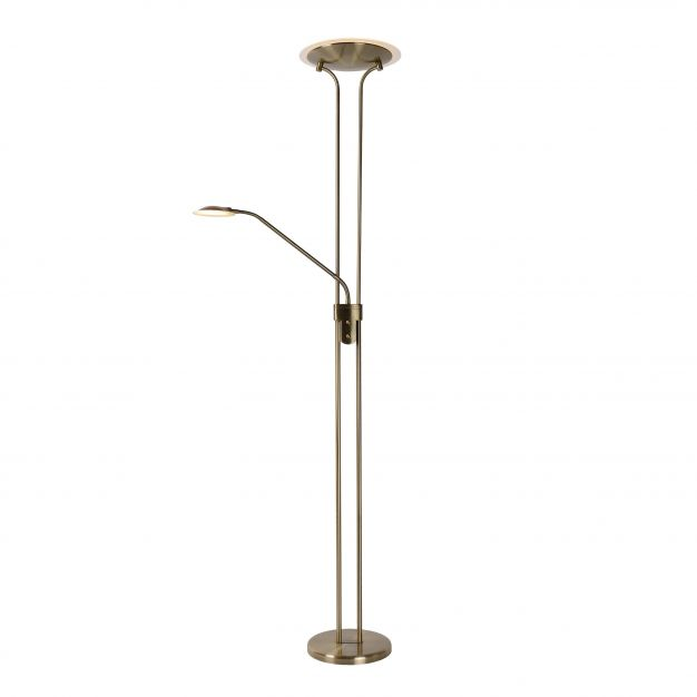 Lucide Champion - staanlamp - Ø 25,4 x 180 cm - 20W + 4W dimbare LED incl. - brons