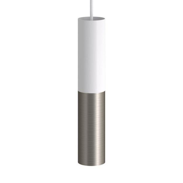 Creative Cables Double Tube - hanglamp 1L - Ø 12,5 x Ø 6 x 190 cm - mat wit en titanium