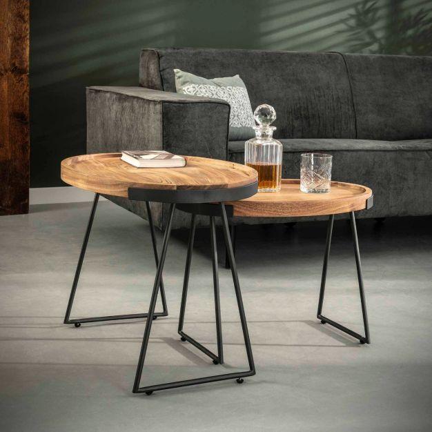 Vico Oval - bijzettafel - 66 x 47 x 48 cm - acaciahout