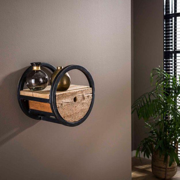Vico circular - wandschap met lade -Ø 30 x 25 cm - hardhout