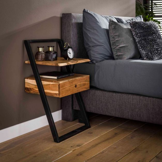 Vico Lean - nachtkastje - 45 x 35 x 77 cm - acaciahout