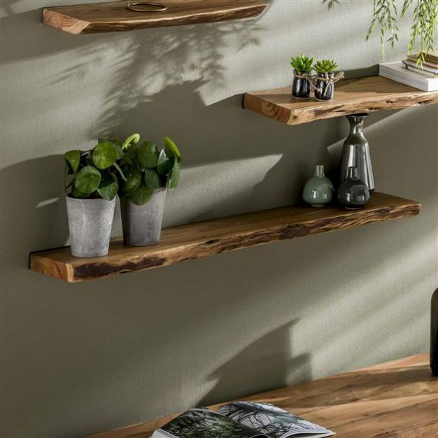Vico Natural Edge - wandschap - 120 x 20 x 4 cm - acaciahout