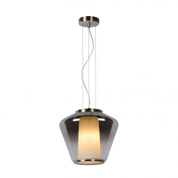 Lucide Stian - hanglamp - Ø 30 x 160 cm - gerookt en opaal glas