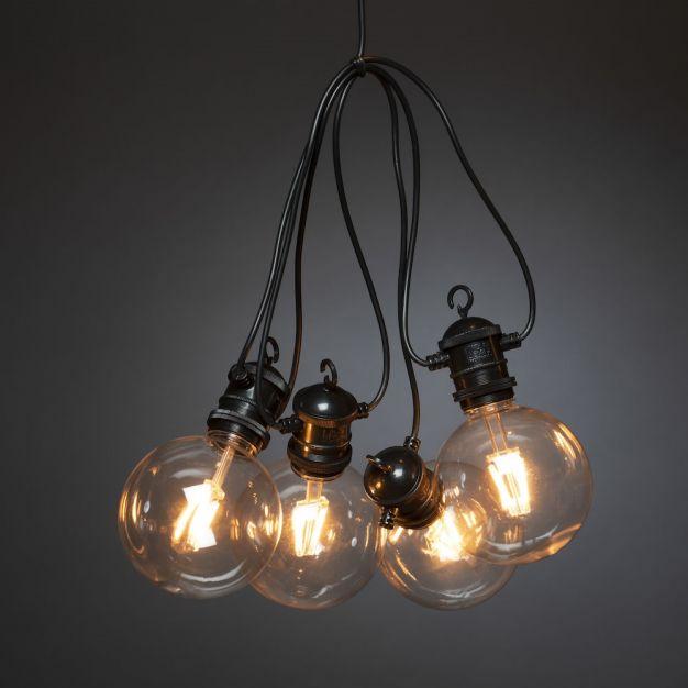 Konstsmide - decoratieve lichtsnoer met dimfunctie - 4,5 meter lengte plus 10 meter snoer - 10 vervangbare LED-lampen incl. - IP44 - zwart