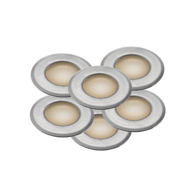 Nordlux Une 6-Kit - set van 6 - grondspot voor buiten - Ø 37 mm, Ø 25 mm inbouwmaat - 0,6W LED incl. - IP67 - roestvrij staal
