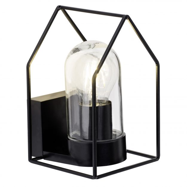 Brilliant Home - buiten wandverlichting - 13 x 21 x 15 cm - IP44 - zwart met transparant glas (laatste stuks!)