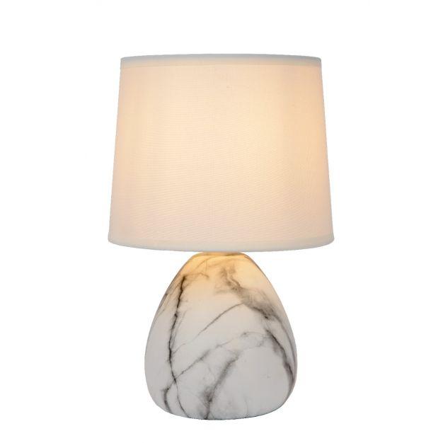 Lucide Marmo - tafellamp - Ø 16 x  25,5 cm - wit