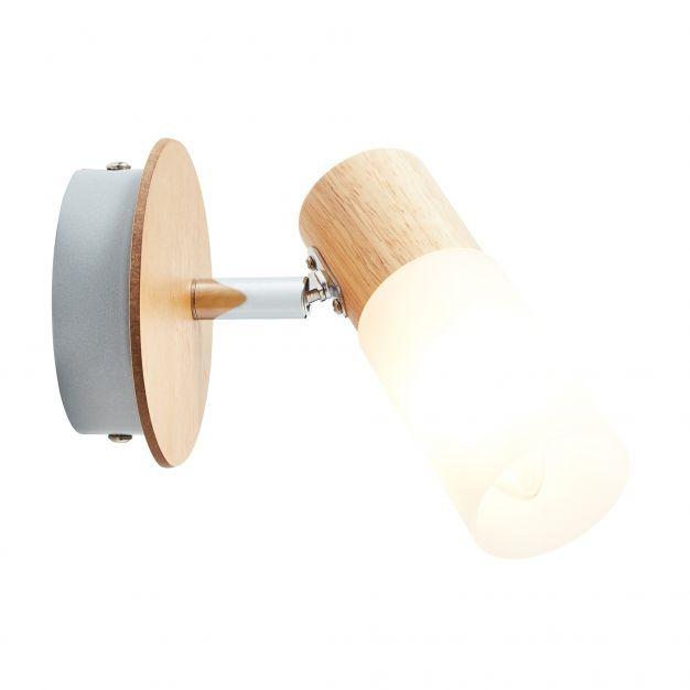 Brilliant Babsan - opbouwspot 1L - 10 x 12 x 18 cm - hout / wit