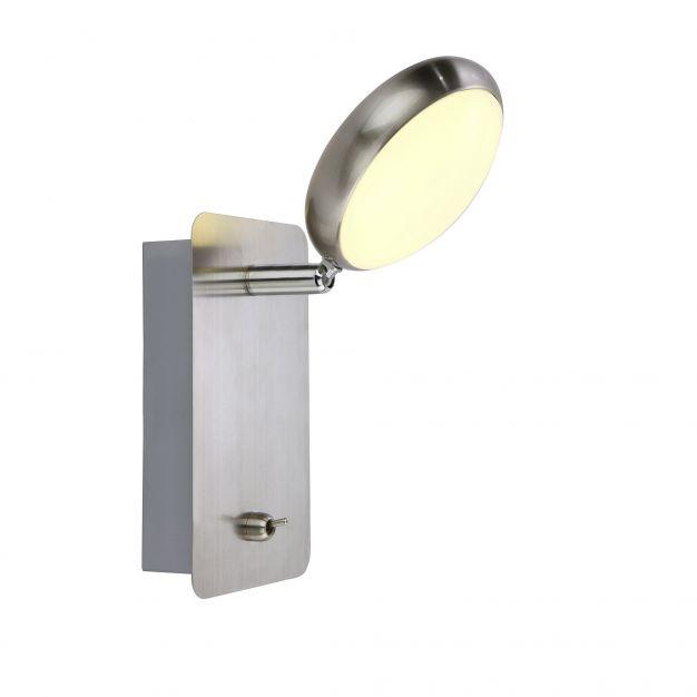 Brilliant Double - wandverlichting met schakelaar - 9 x 15 x 17 cm - 5W LED incl. - satijn chroom