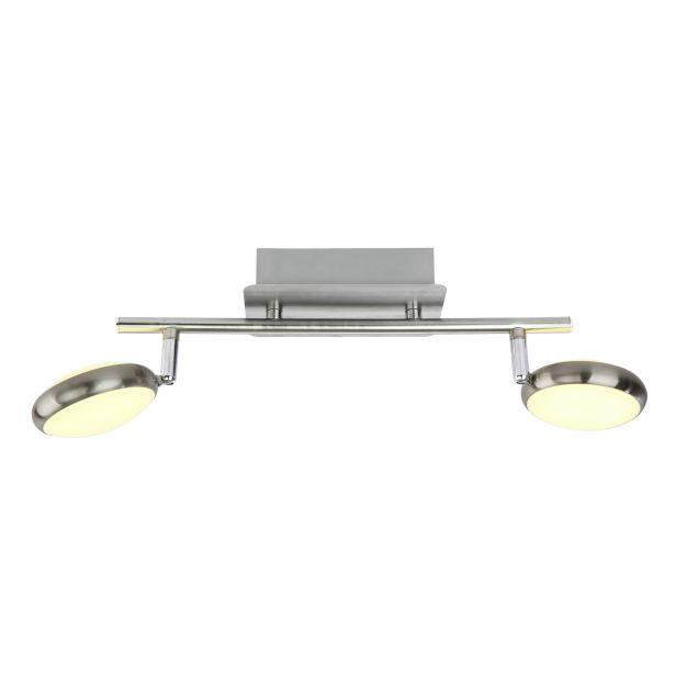 Brilliant Double - plafondverlichting - 36 x 20 x 10 cm - 2 x 5W LED incl. - satijn chroom