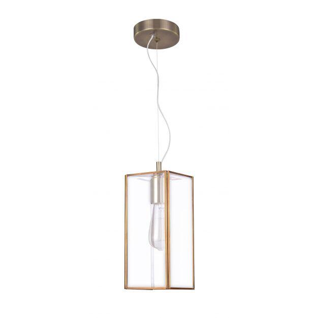 Nova Luce Flavio - hanglamp - 32 x 13 x 130 cm - transparant en antiek messing