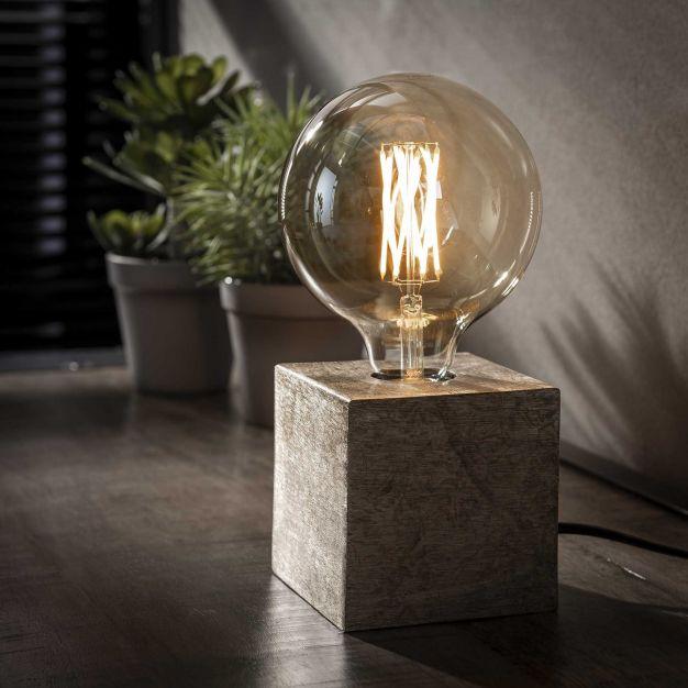 Vico Block - tafellamp - Ø 10 x 10 cm - antiek nikkel