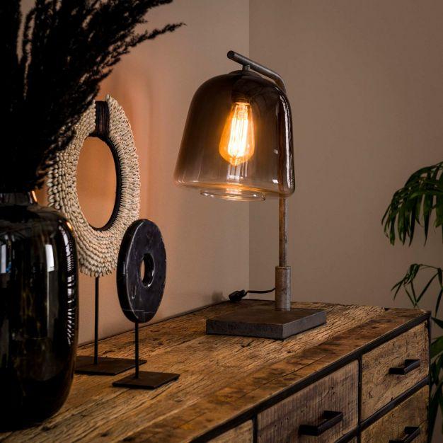 Vico Grey Shade - tafellamp - 23 x 40 x 52 cm - gerookt glas