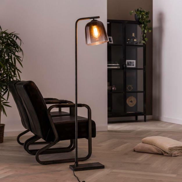 Vico Grey Shade - vloerlamp - 23 x 40 x 147 cm - gerookt glas