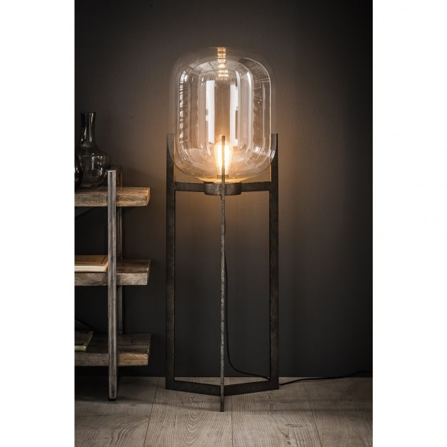 Vico Glass Shade - staanlamp - 110 cm - oud zilver