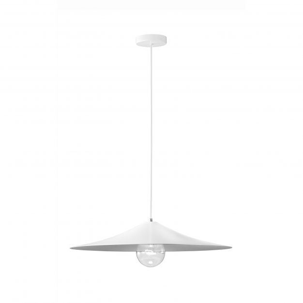 Nova Luce Turin - hanglamp - Ø 60 x 120 cm - wit en grijs