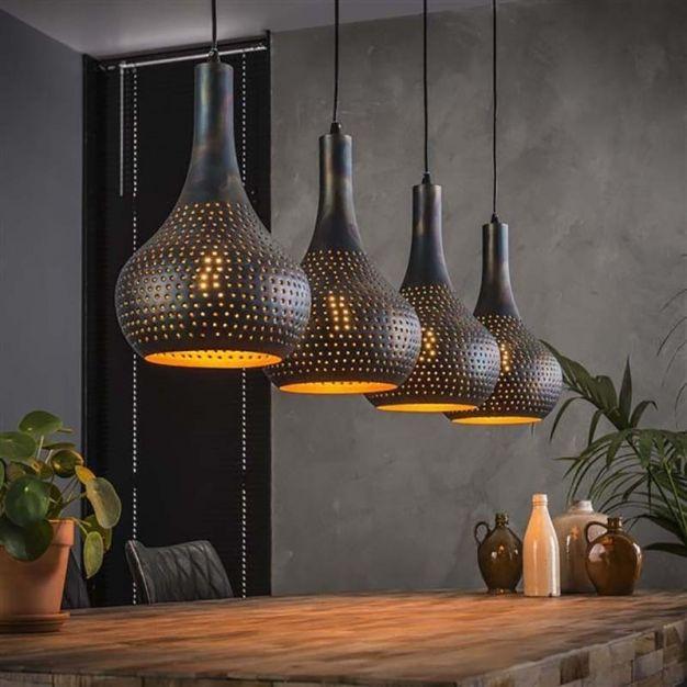 Vico perforated - hanglamp - 130 x 25 x 150 cm - zwart bruin