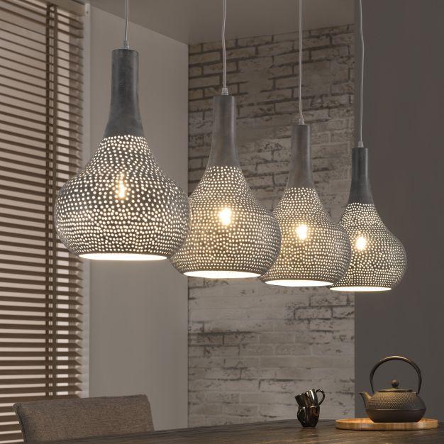 Vico Perforated - hanglamp 4L - 130 x 25 x 150 cm - grijs