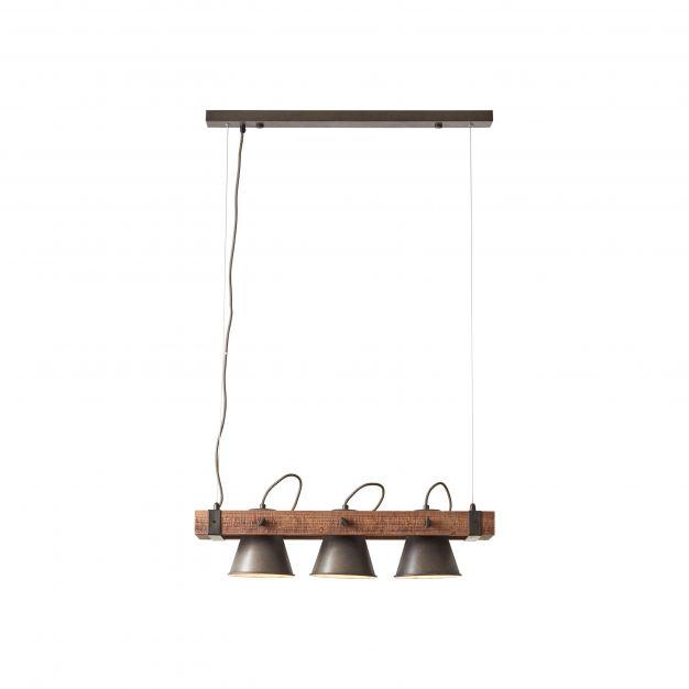 Brilliant Plow - hanglamp - 70 x 20 x 115 cm - zwart en bruin