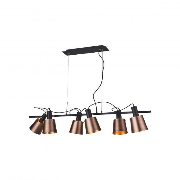 Brilliant Santo - hanglamp - 133 x 46 x 137 cm - koper en zwart