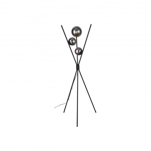 Brilliant Astro - staanlamp - Ø 80 x 170 cm - zwart en gerookt glas