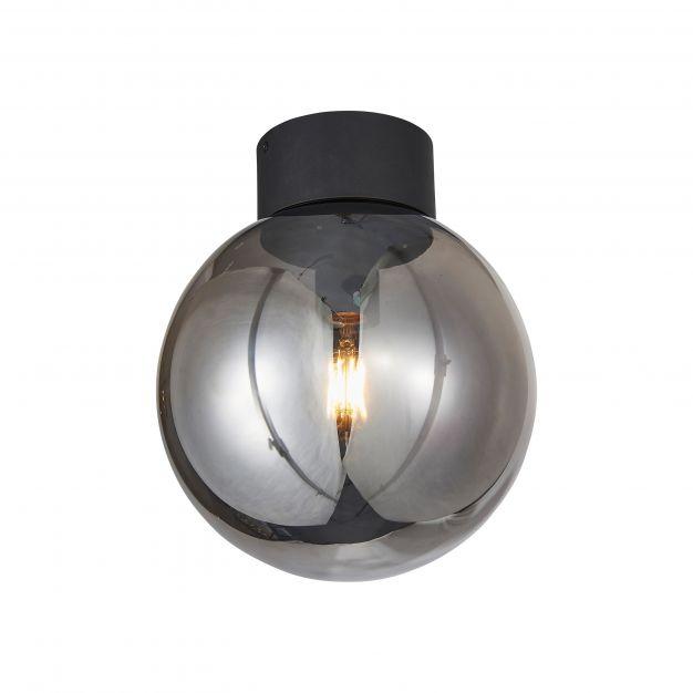 Brilliant Astro - plafondverlichting - Ø 25 x 29,5 cm - zwart en gerookt glas
