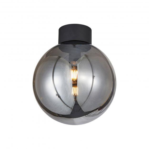 Brilliant Astro - plafondverlichting - Ø 30 x 35 cm - zwart en gerookt glas