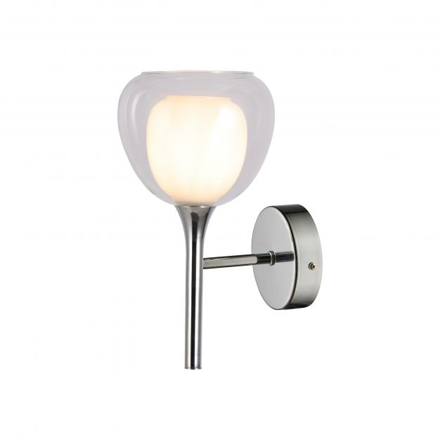 Brilliant Hadan - wandverlichting met schakelaar  - 16 x 18,5 x 30,5 cm - chroom en wit