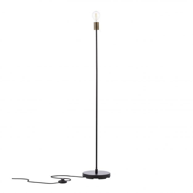 Brilliant Mimo - staanlamp - 126 cm - zwart / antiek messing