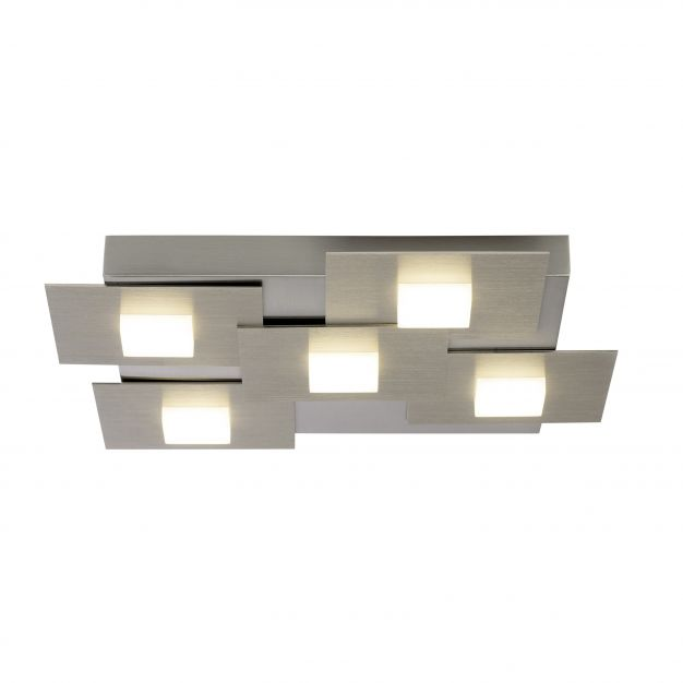 Brilliant Numbers - plafondverlichting - 41 x 39 x 5 cm - 3 stappen dimbaar - 5 x 4,5W LED incl. - satijn chroom