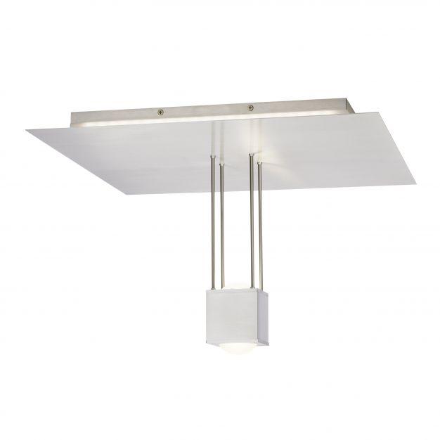 Brilliant Lens - plafondverlichting met afstandsbediening - 50 x 50 x 29 cm - 26W dimbare LED incl. met instelbare lichtkleur - satijn chroom