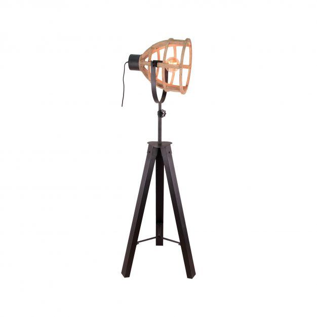 Brilliant Matrix Wood - staanlamp - Ø 60 x 173 cm - antiek hout en zwart korund
