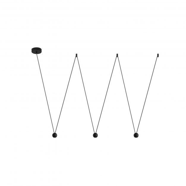 Nova Luce Nocci - hanglamp - 320 x 112 cm - 3 x 4,5W LED incl. - zwart