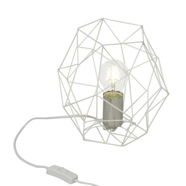 Brilliant Synergy - tafellamp - 19 cm - satijn chroom / wit