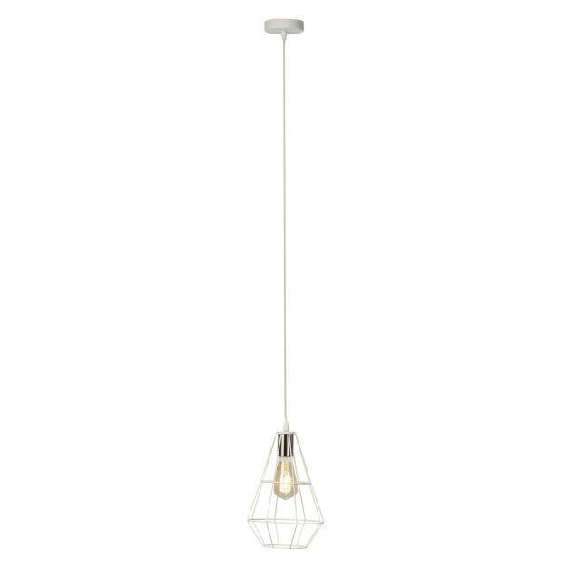 Brilliant Leonid - hanglamp - 20 x 134 cm - satijn chroom / wit